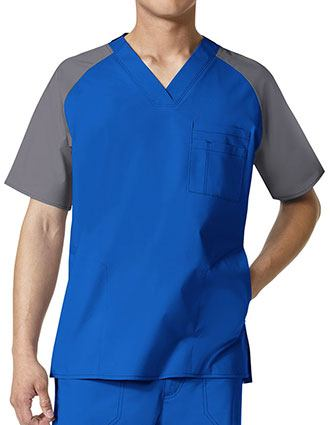 Wonderwink Wonderflex Men's Anchor Color Block Contrast Trim Scrub Top