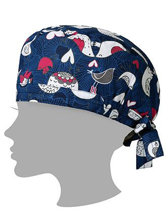 Zoe and Chloe Unisex Love Birds Navy Printed Scrub Hat