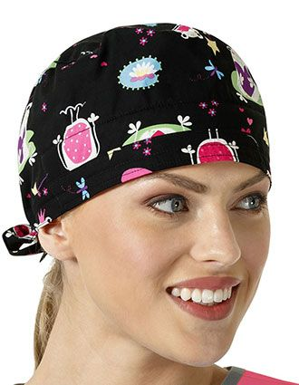 Zoe and Chloe Unisex Princess Frog Black Printed Scrub Hat