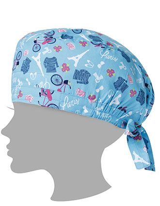 Zoe and Chloe Unisex Paris In The Springtime Blue Printed Scrub Hat