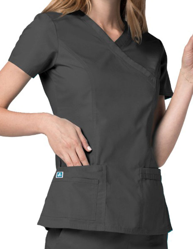 Adar Universal Womens Double Stiched Mock Wrap Scrub Top