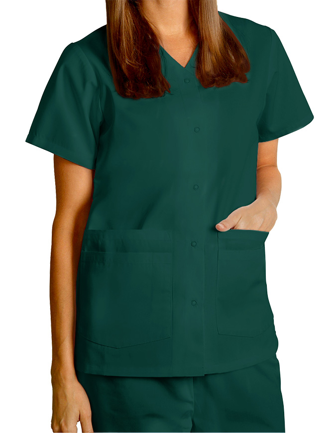 64bbee4d0fd Adar Women's Nurses Double Pocket Snap Front Scrub Top
