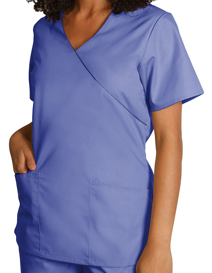 Adar Women Uniforms Mock Wrap Contrast Trim Scrub Top