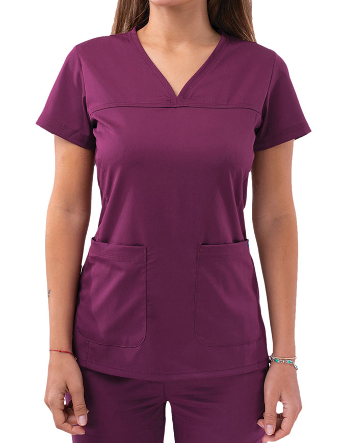 Adar Pro Women's Sweetheart Solid Scrub Top