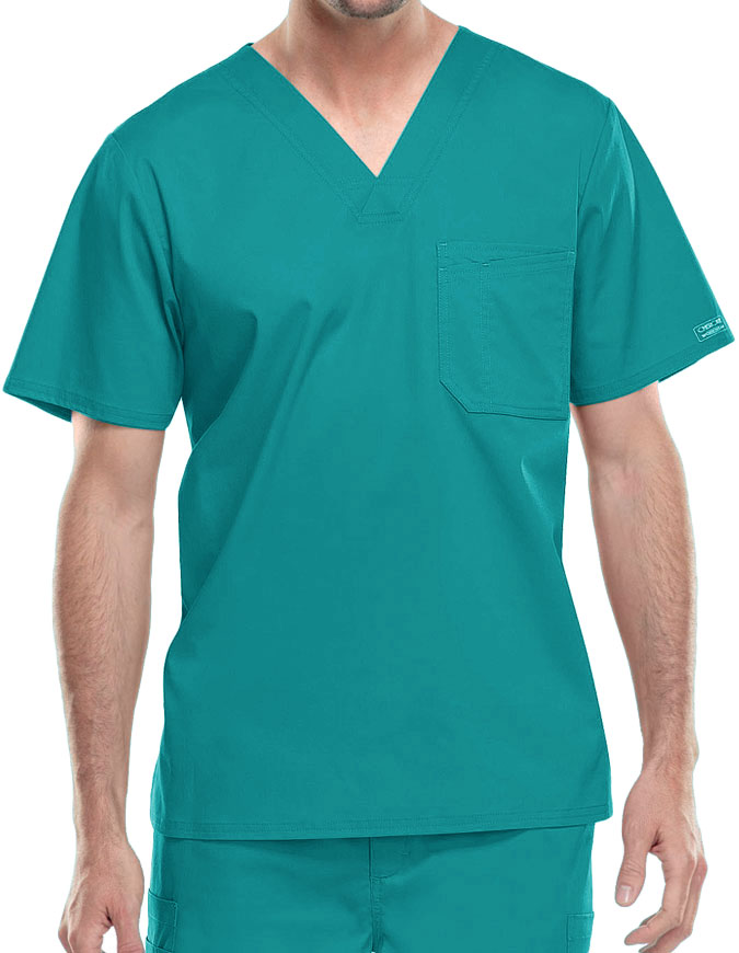 Cherokee WorkWear Men's Double Chest Pocket V-Neck Scrub Top
