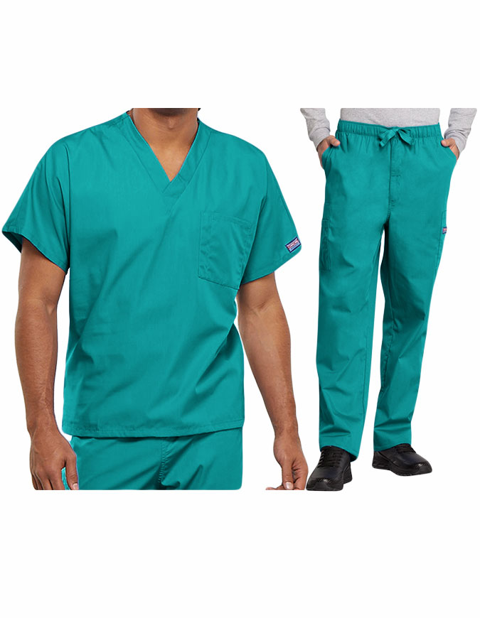 Cherokee Workwear Originals Men's V-Neck Single Pocket Scrub Set