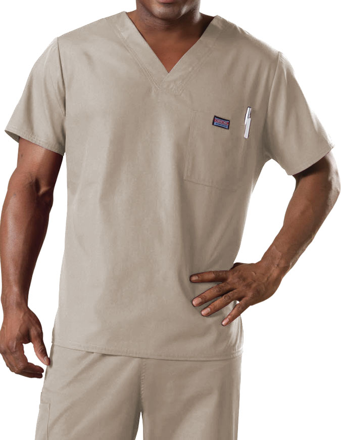 Cherokee Workwear Men's Chest Pocket V-Neck Scrub Top