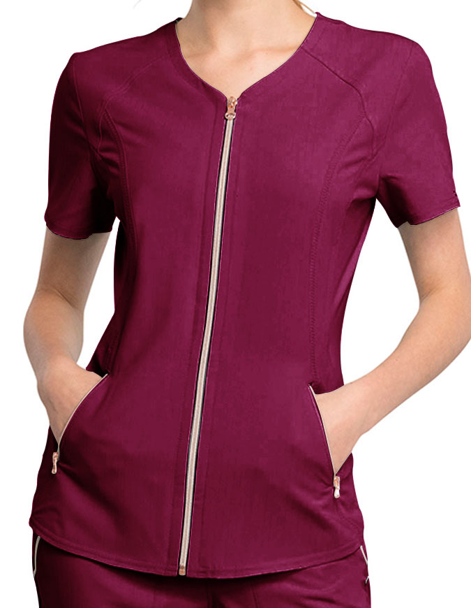 Cherokee Statement Women's V-Neck Zip Front Top