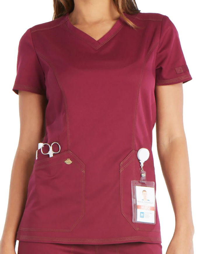 Dickies Essence Women's Princess Seam V-Neck Top