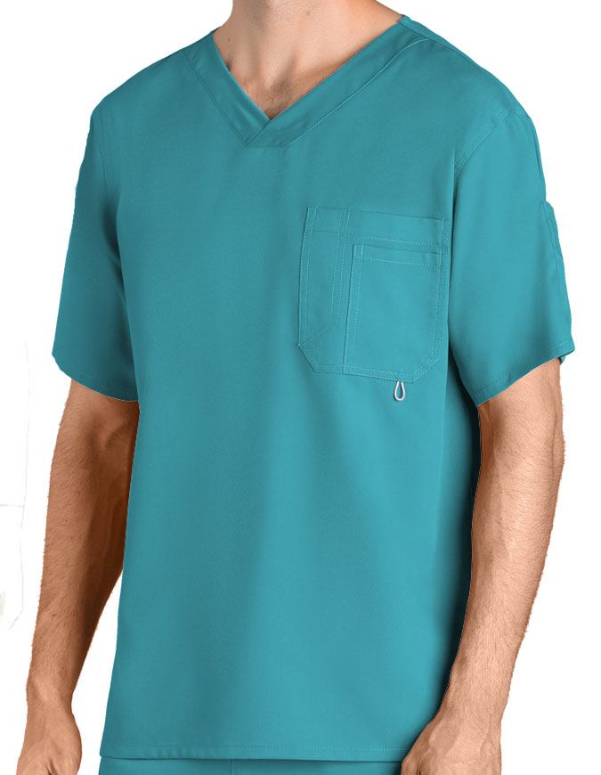 Greys Anatomy Men's Three Pocket High Open V-Neck Scrub Top