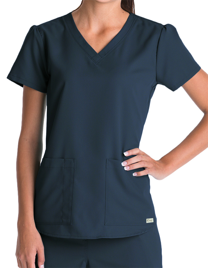 Greys Anatomy Women's Two Pocket V-Neck Shirred Back Scrub Top