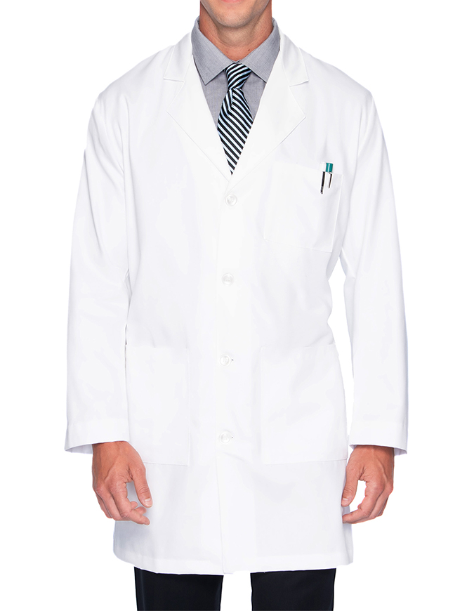 Landau Mens 37 inch Multi Pocket Twill Protective Medical Lab Coat