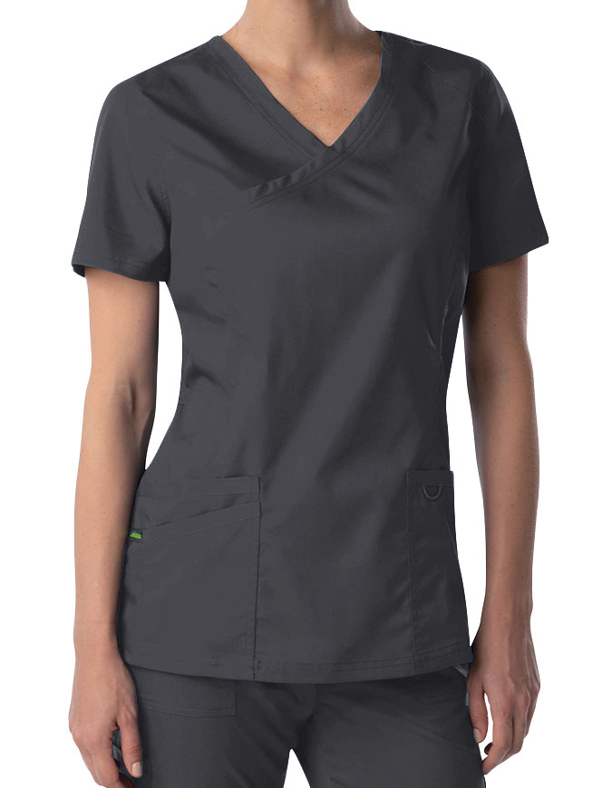 Landau ProFlex Women's Mock Wrap Tunic Solid Scrub Top