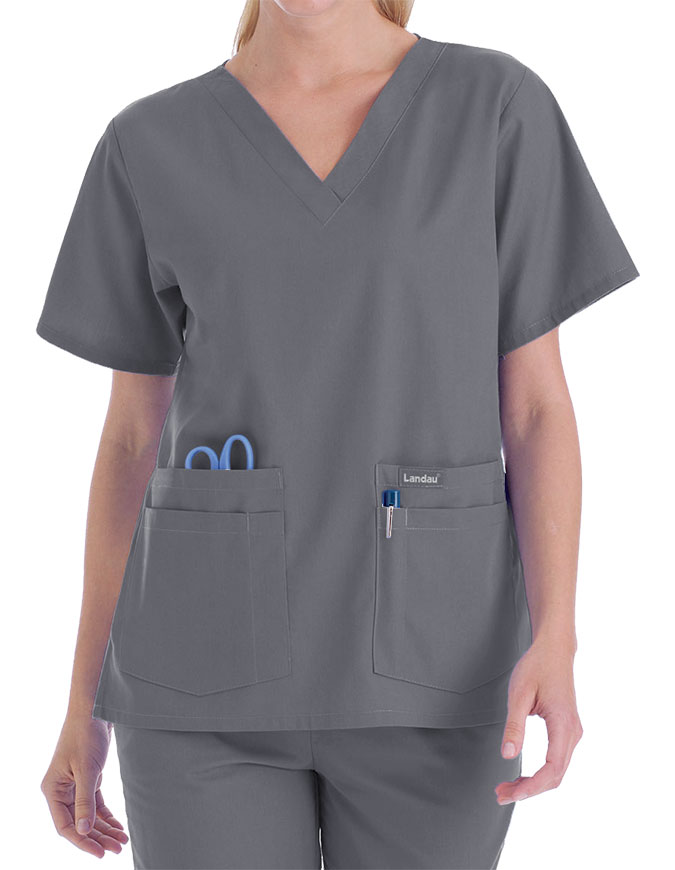 Landau Trends Women's Four Pocket V-Neck Nurse Scrub Top