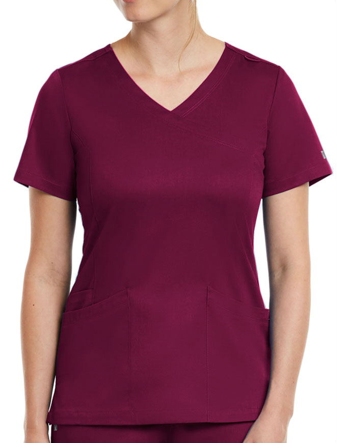 Maevn Matrix Women's Knit Panel Solid Scrub Top