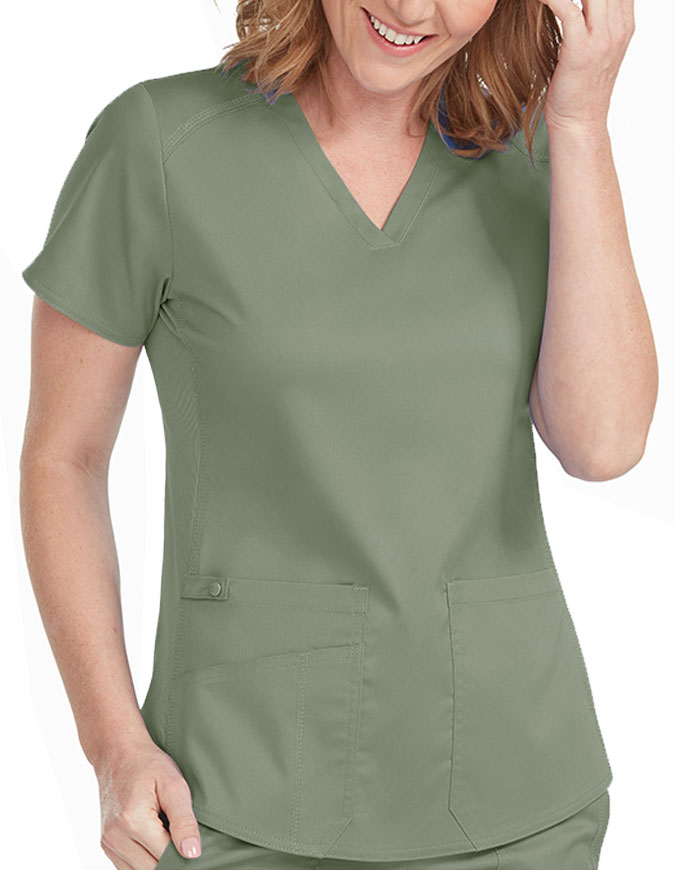 Med Couture Touch Women's V-Neck Shirttail Top