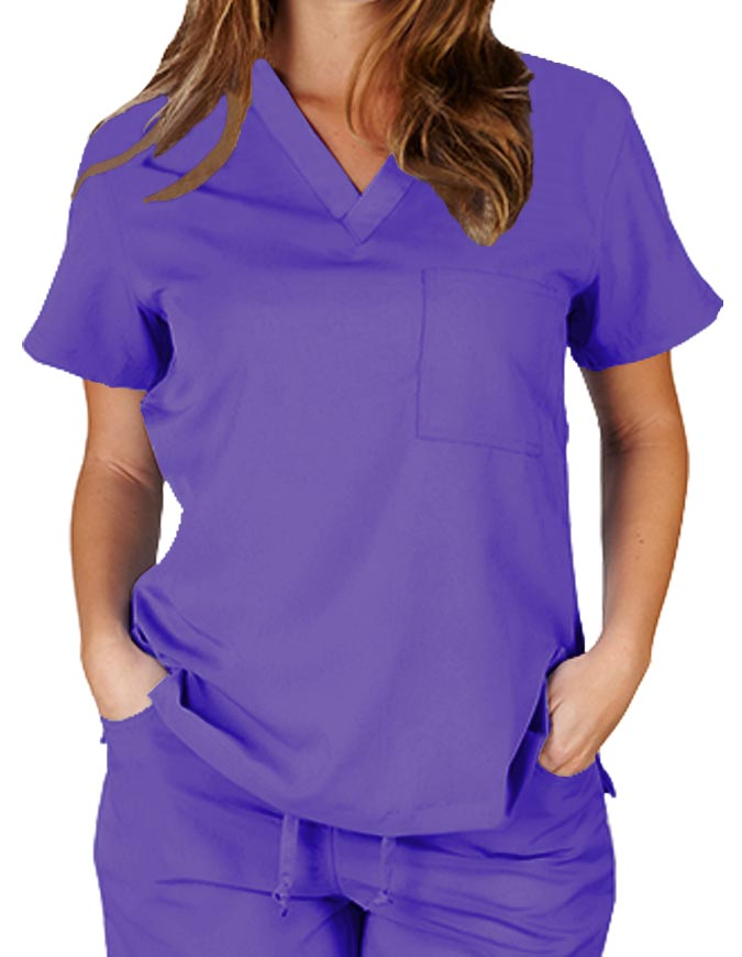 Natural Uniforms Womens V-neck Chest Pocket Scrub Top