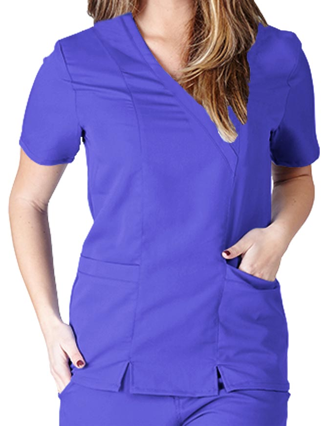 Natural Uniforms Women's Ultrasoft Cross Over Mock Wrap Top