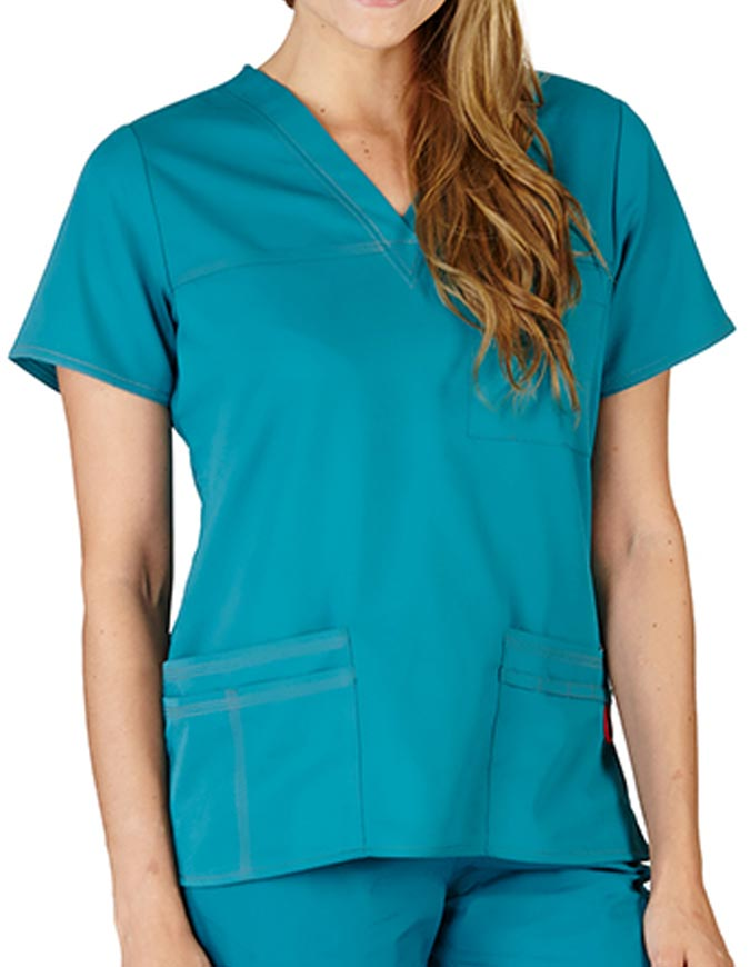Natural Uniforms Women's Super Soft Contrast Stitch V-Neck Scrub Top