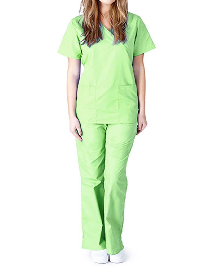 Natural Uniforms Women's Mock Wrap Top with Flare Leg Pant