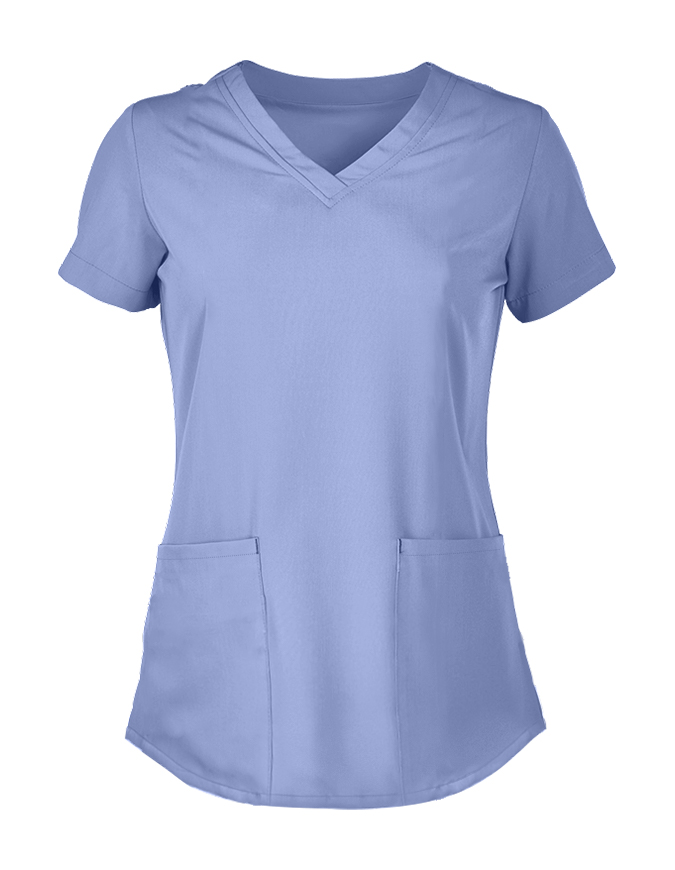 Panda Uniform Women's Shirttail Hem V-Neck Tunic Scrub Top