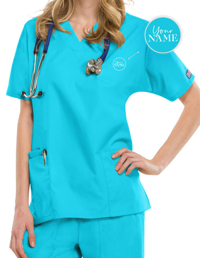 Women's Two Patch Pockets Nurse Scrub Top