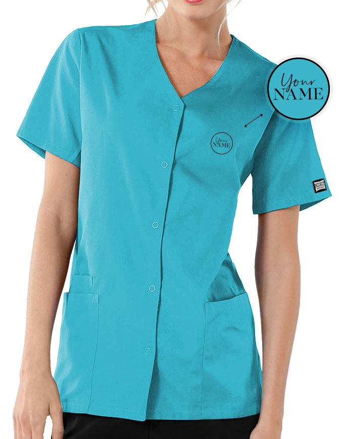 Women's Short Sleeve Snap Scrub Top