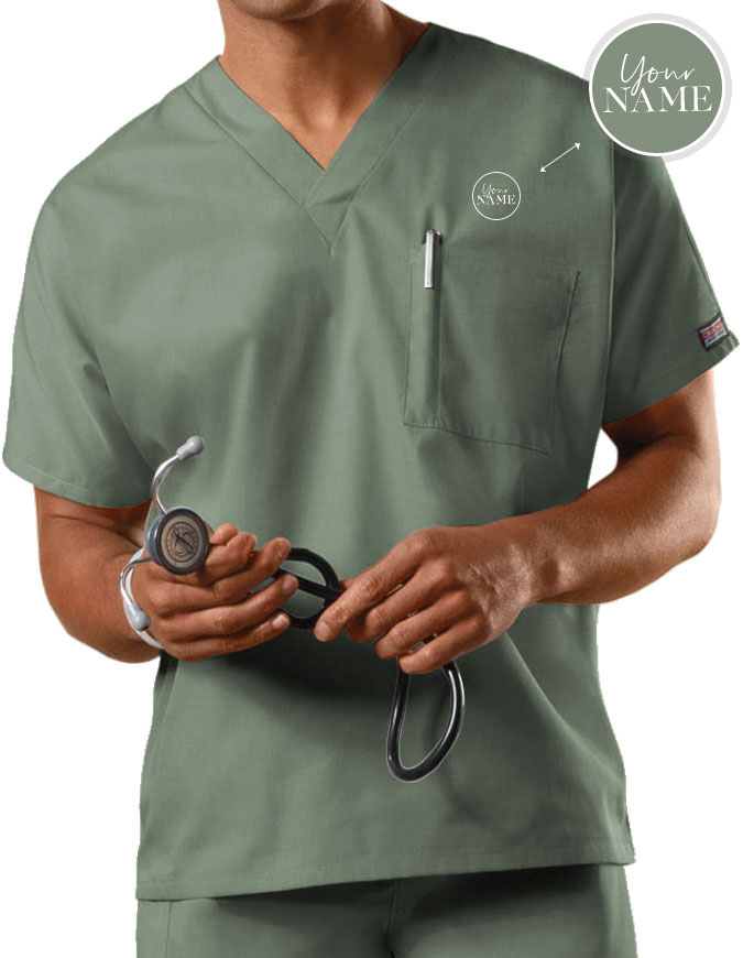 Unisex V-Neck Single Pocket Scrub Top
