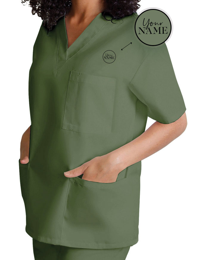 Unisex V-Neck Three Pockets Nursing Scrub Top