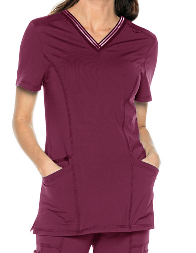 Urbane Impulse Women's Interlock Womens V Neck Top With Elastic Trim