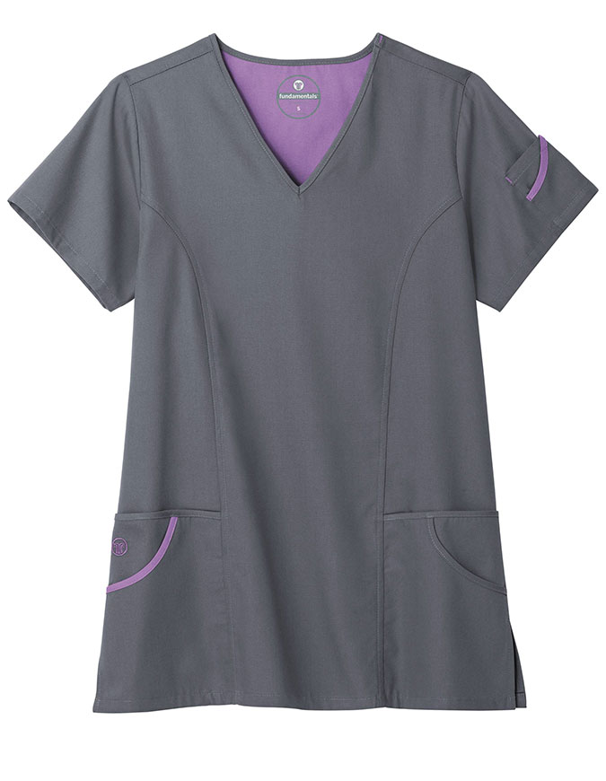 White Swan Fundamental Women's 6-Pockets Fashion Scrub Top