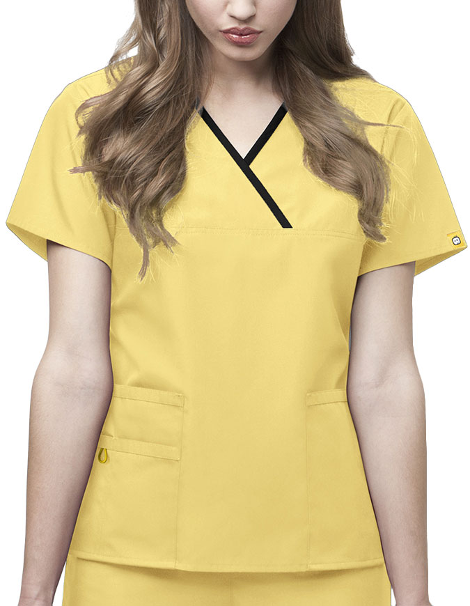 WonderWink Origins Womens Y-Neck Mock Wrap Scrub Top