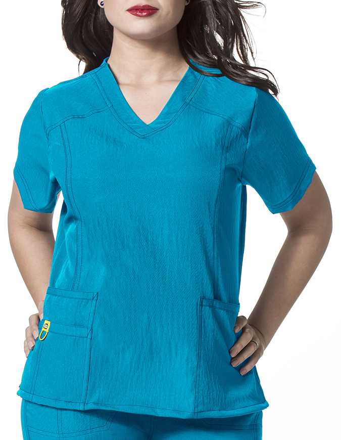 Wink Scrubs WonderWink Plus Curved V-Neck Nurse Scrub Top
