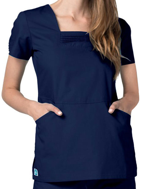 Adar Universal Womens Pin Tuck Pleated Scrub Top