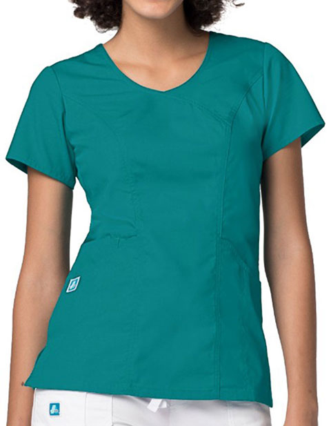 Adar Universal womens Wave Pocket Crossover Scrub Top