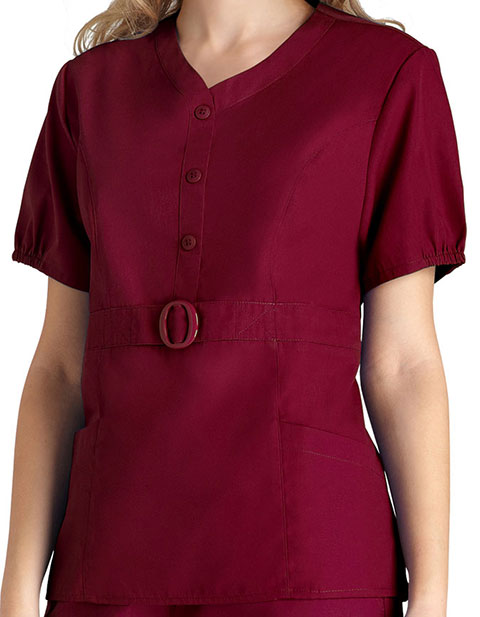 Adar Women Solid Button 'n Buckle Princess Scrub Top