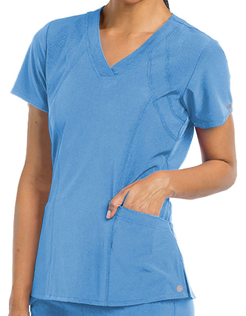 Barco One Women 5-Pocket Sporty V-Neck Scrub Top