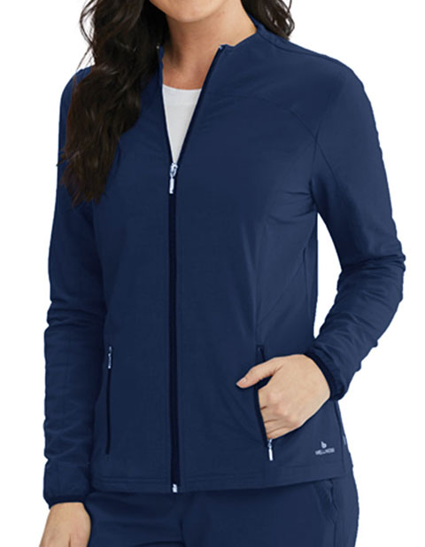 Barco One Wellness Women's Two Pocket Zip Front Solid Warmup