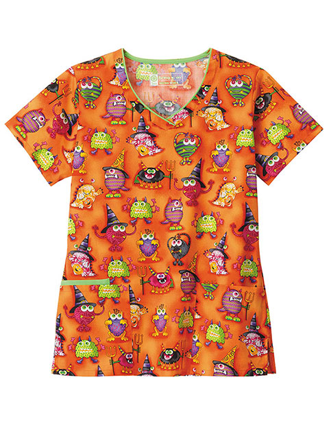 Bio Prints Ladies Contrast Googly Moogly Print V-Neck Top