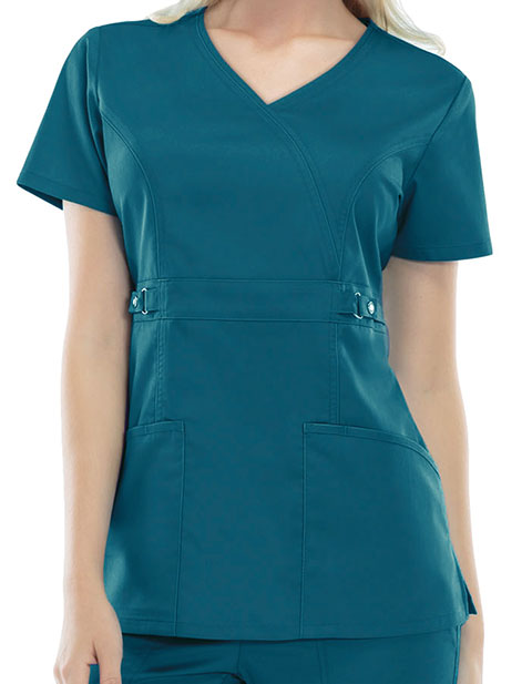 32ebcbdb09a Cherokee 21701 Luxe Women Two-Pocket Mock Wrap Scrub Top for $26.98 ...