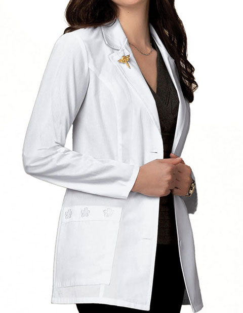 Cherokee Women Two Pocket Daisy Embroidered Medical Lab Coat