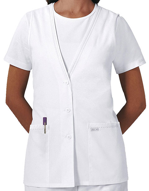 Cherokee Womens White Two Pocket Medical Vest