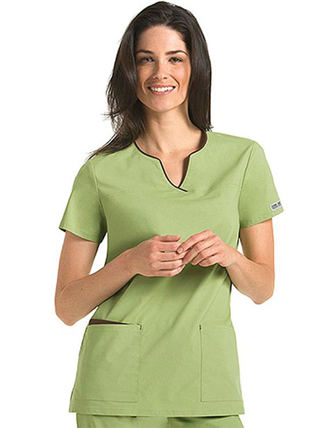 Cherokee Body Women Two Pocket Split Neck Nurse Scrub Top