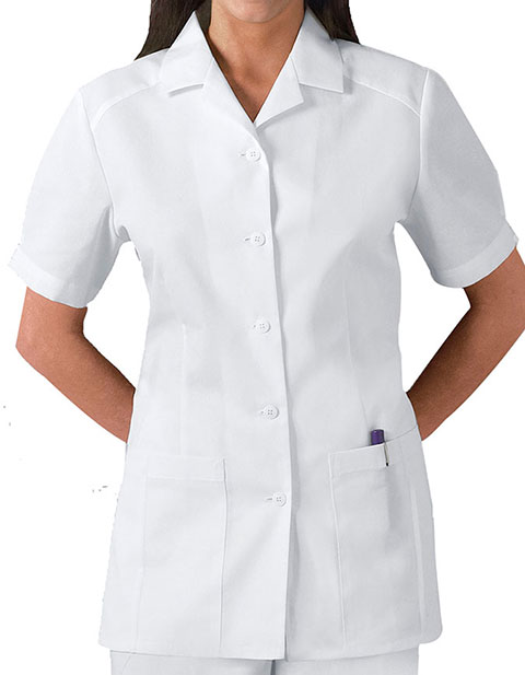 Cherokee Whites Women Two Pockets Pleated Nursing Scrub Top