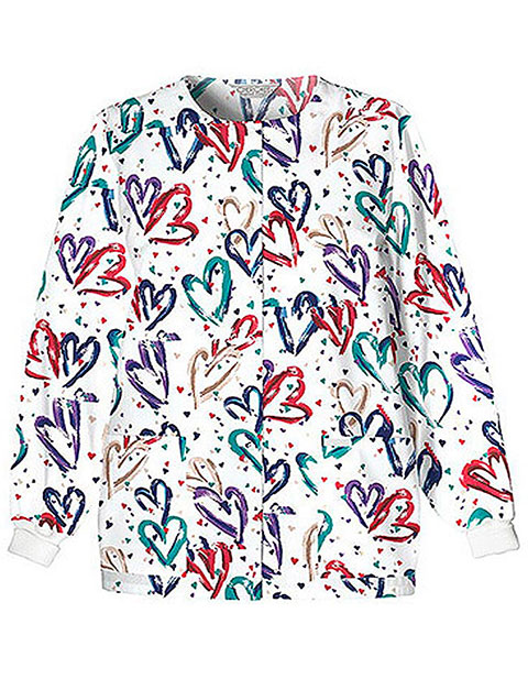 Cherokee Women's Jewel Neck Snap Front Heartbeat Printed Scrub Jacket