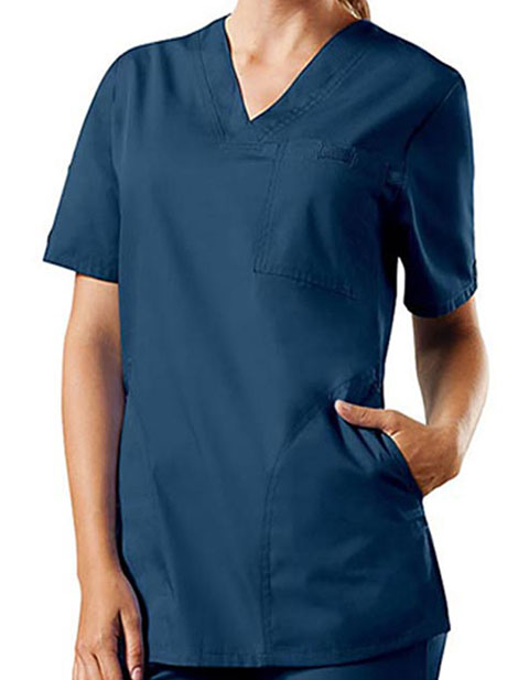 Cherokee Workwear Unisex Three Pockets V-Neck Top
