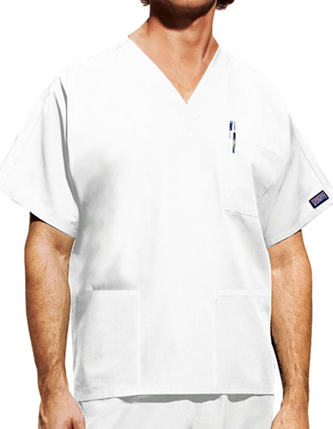 Cherokee Unisex Three Pockets V-Neck White Nurse Scrub Top