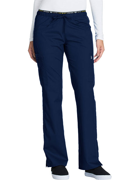 Cherokee Luxe Sport Women's Tall Mid Rise Straight Leg Pull-on Scrub Pant