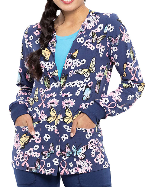 Cherokee Women's Beautiful To Care Print Warm-up Snap Front Jacket