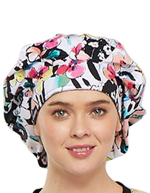Cherokee Unisex Brilliant Bouquet Printed Bouffant Scrub Hat